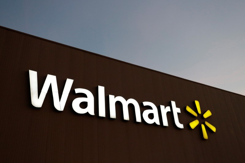FILE PHOTO: Logo of Walmart is pictured at one of their stores in Monterrey