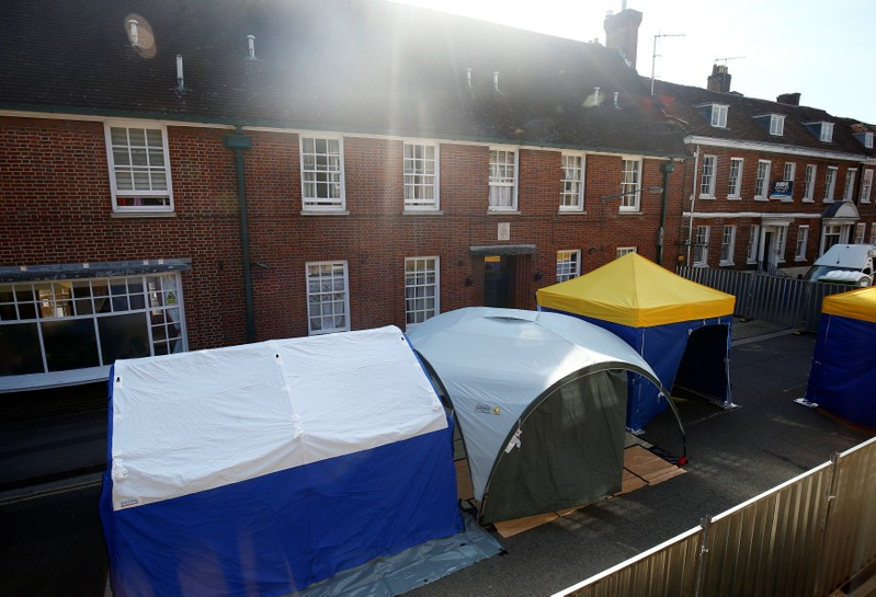 Police forensic tents can be seen to the rear of John Baker House after it was confirmed that two people had been poisoned with the nerve-agent Novichok in Amesbury