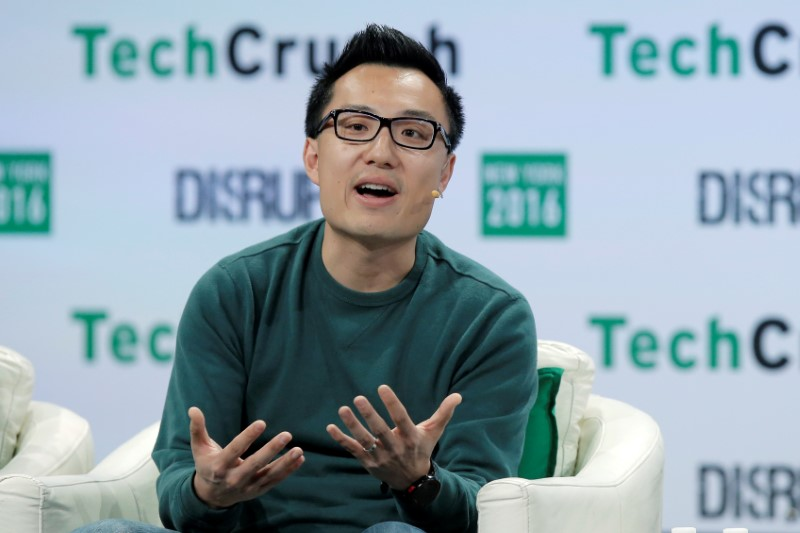 Tony Xu, CEO and Co-founder of DoorDash, speaks at the TechCrunch Disrupt event in Brooklyn borough of New York
