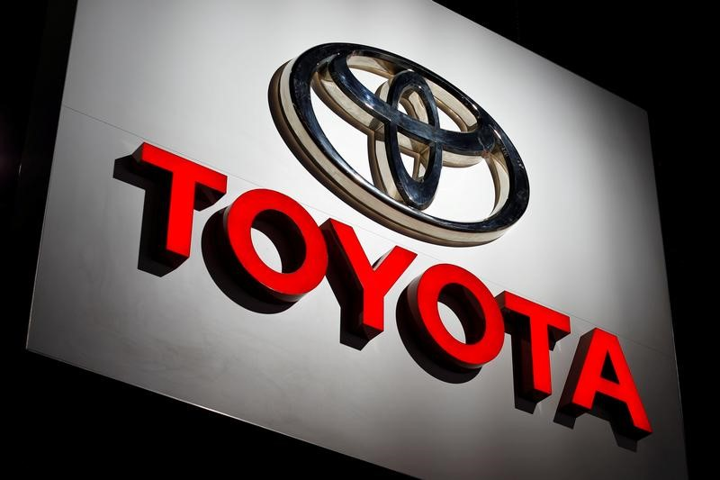 FILE PHOTO: The Toyota logo at the Los Angeles Auto Show