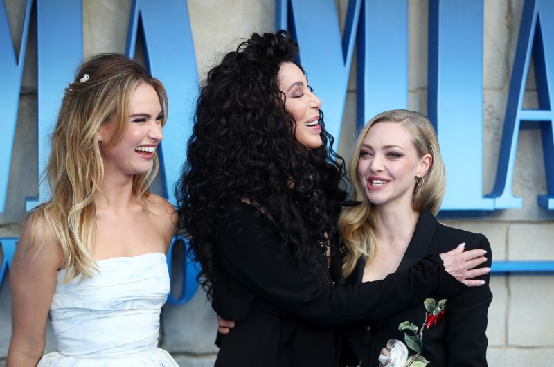 Cher, Lilly James and Amanda Seyfried attend the world premiere of Mamma Mia! Here We Go Again at the Apollo in Hammersmith, London
