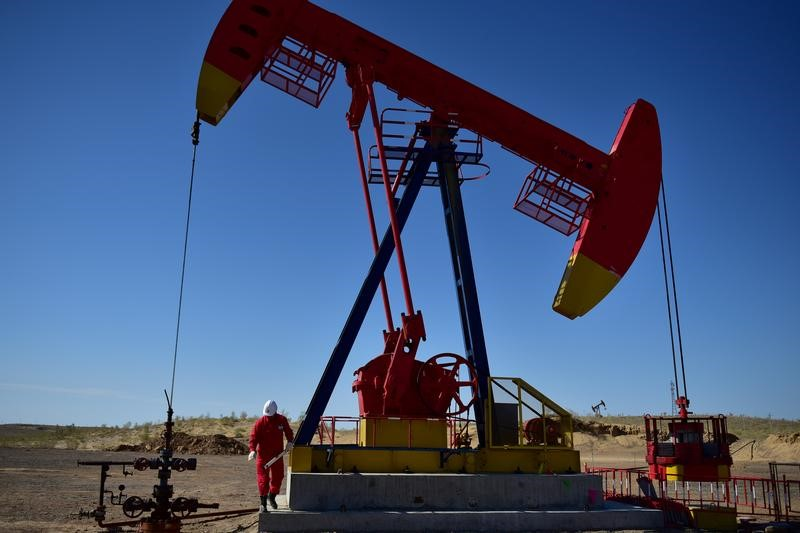 FILE PHOTO Worker inspects a pump jack at an oil field in Tacheng, Xinjiang