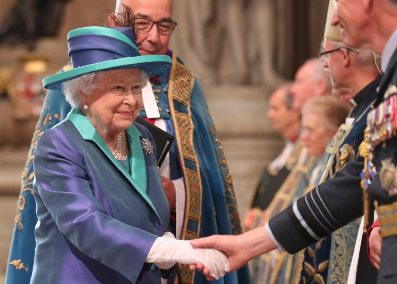 Britain's Queen Elizabeth arrives at Westminster Abbey for a service to mark the centenary of the Royal Air Force, in central London