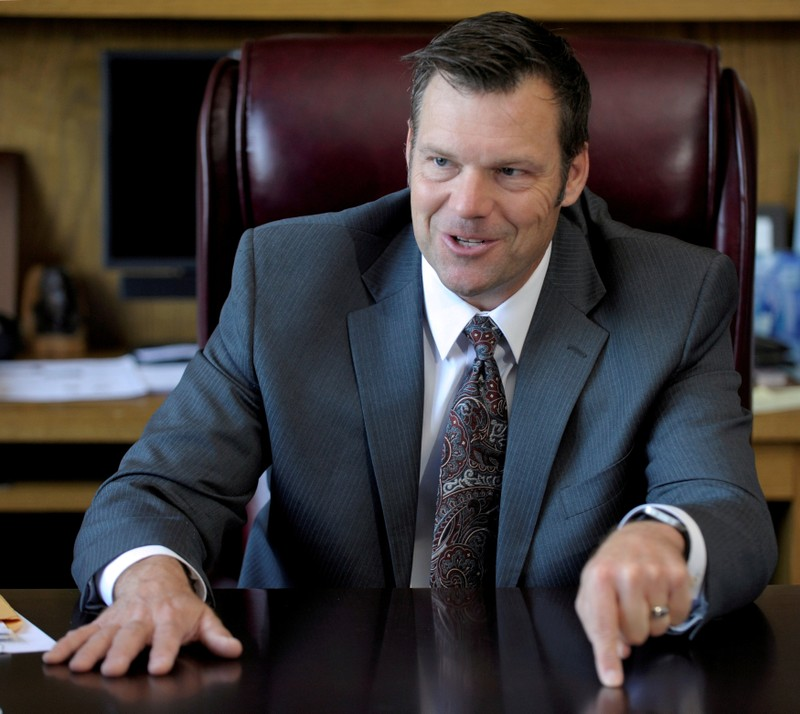 usbFILE PHOTO: Kansas Secretary of State Kobach talks about the Kansas voter ID law in his office in Topeka
