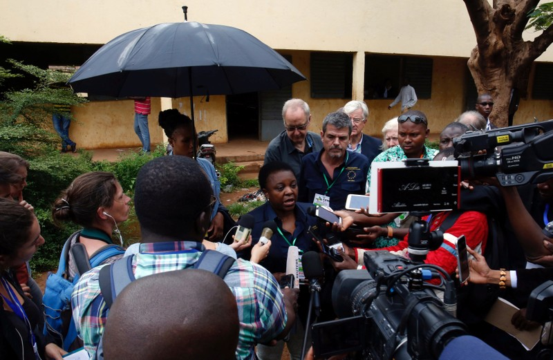 The head of the EU observer mission, Cecile Kyenge, talks to journalists during a run-off presidential election in Bamako