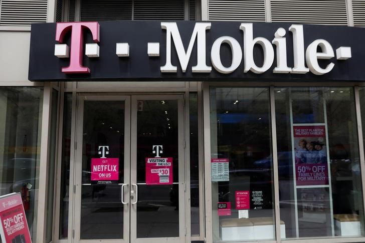 A sign for a T Mobile store is seen in Manhattan New York
