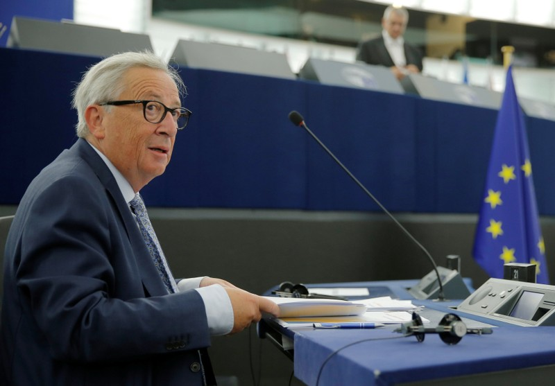 European Commission President Juncker is seen before a debate on The State of the European Union at the European Parliament in Strasbourg