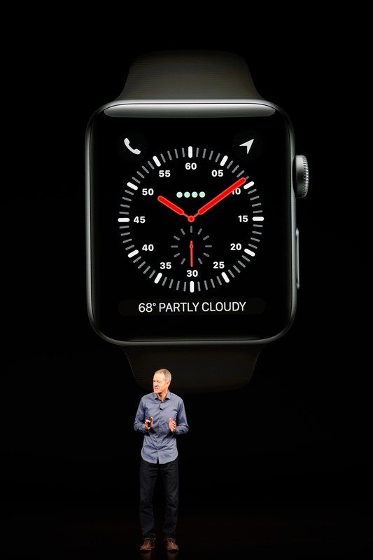 Jeff Williams, Chief operating Officer of Apple, introduces the new Apple Watch Series 4 at an Apple Inc product launch in Cupertino