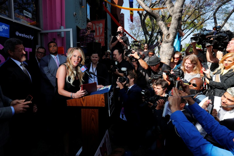 FILE PHOTO: Stormy Daniels speaks during a ceremony in her honor in West Hollywood