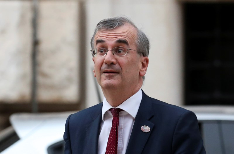 Bank of France Governor Francois Villeroy de Galhau arrives at the Petruzzelli Theatre during a G7 for Financial ministers in the southern Italian city of Bari