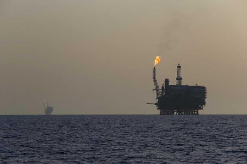 Offshore oil platforms are seen at the Bouri Oil Field off the coast of Libya