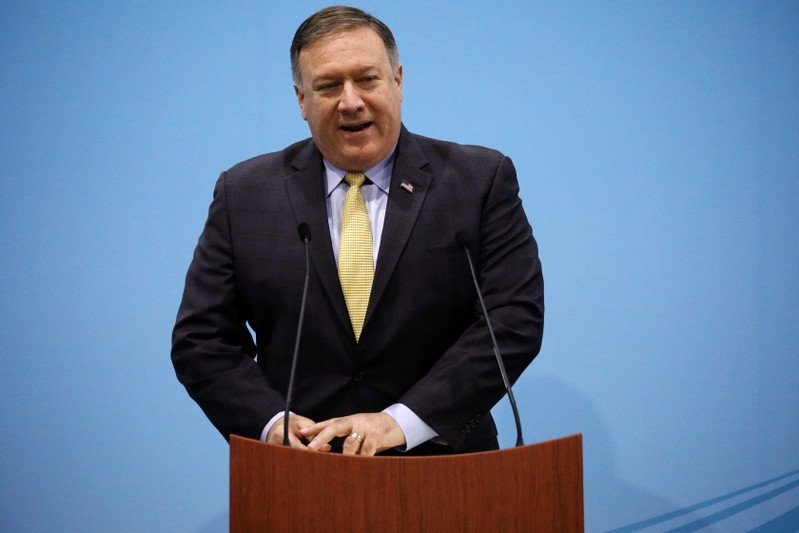 U.S. Secretary of State Mike Pompeo speaks during a news conference at the ASEAN Foreign Ministers' Meeting in Singapore