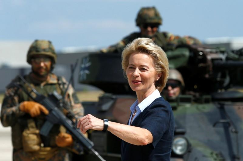 FILE PHOTO: German Defence Minister Ursula von der Leyen visits the Transport Helicopter Regiment 30 (Transporthubschrauberregiment 30) at the Hermann-Koehl-Kaserne in Niederstetten
