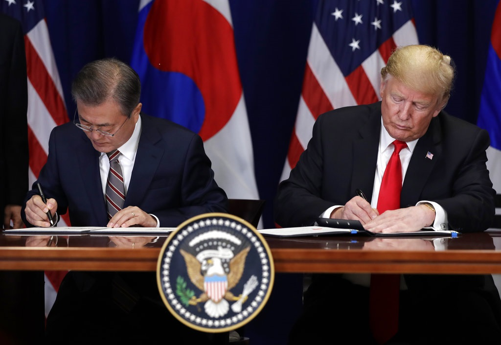 Pres Trump Signs United States Korea Free Trade Agreement One