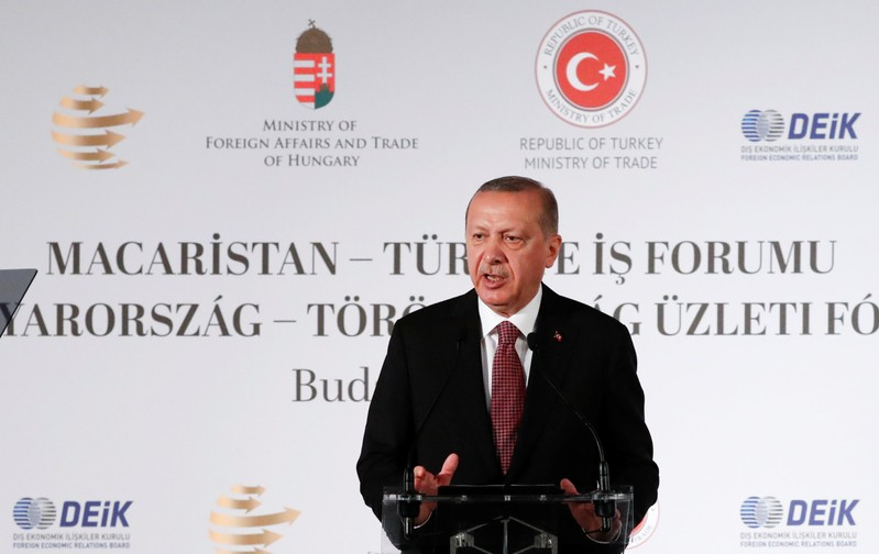 Turkish President Tayyip Erdogan speaks at a business conference in Budapest