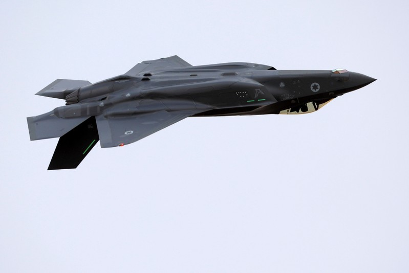 An Israeli Air Force F-35 fighter jet flies during an aerial demonstration at a graduation ceremony for Israeli Air Force pilots at the Hatzerim air base in southern Israel