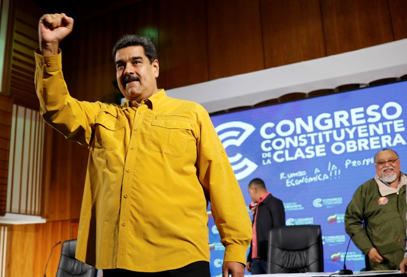 Venezuela's President Nicolas Maduro attends an event with workers in Caracas