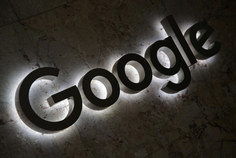 FILE PHOTO: A Google logo is displayed at the entrance to the internet based company's offices in Toronto