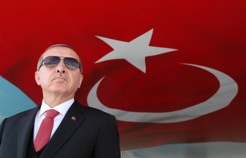 Turkish President Erdogan attends a millitary ceremony in Isparta