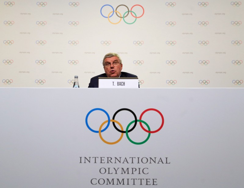 IOC President Bach speaks during a news conference at the end of the 133rd IOC session in Buenos Aires