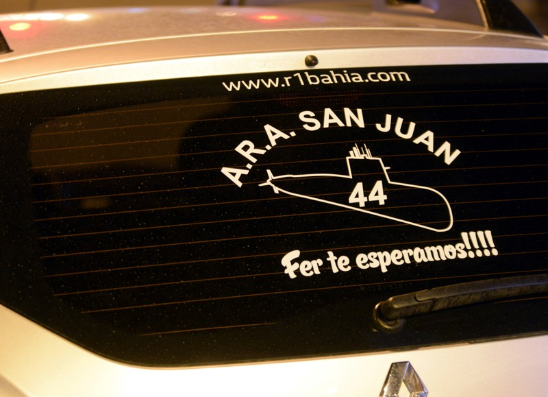 A sticker in commemoration of the 44 crew members of the missing at sea ARA San Juan submarine is seen on the windshield of a car of a victim's relative outside a hotel where relatives are staying in Mar del Plata