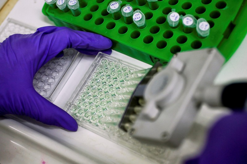 FILE PHOTO: Scientist prepares protein samples for analysis in a lab at the Institute of Cancer Research in Sutton