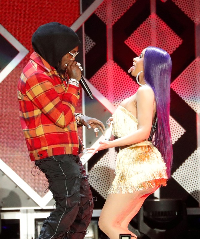 FILE PHOTO: Cardi B and her husband Offset perform during the Jingle Ball concert at The Forum in Inglewood