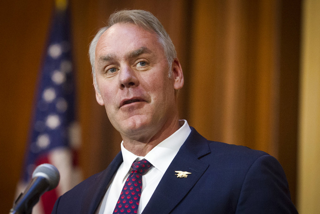 Trump says Interior Secretary Ryan Zinke is leaving administration