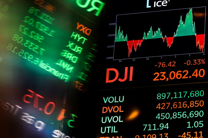 FILE PHOTO:  A screen displays the Dow Jones Industrial Average after the close of trading on the floor of the New York Stock Exchange (NYSE) in New York City