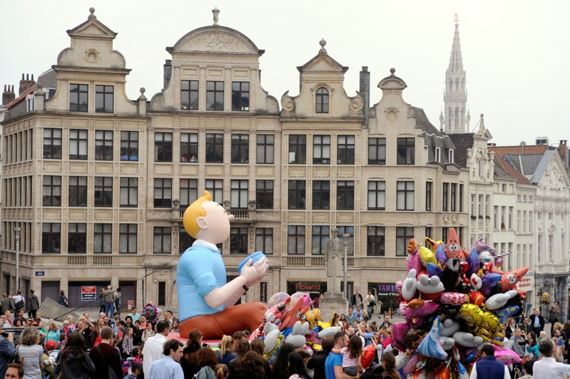 FILE PHOTO: A Tintin balloon float is seen in Albertine Square during Balloon's Day Parade in Brussels