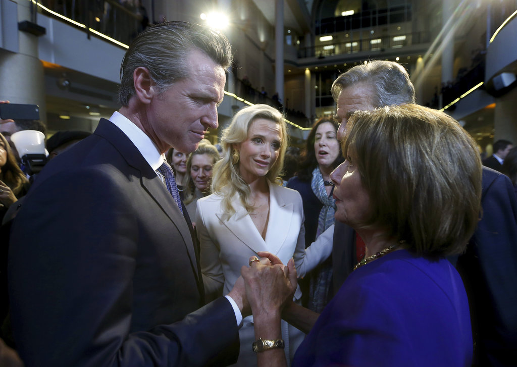 In inauguration speech, Newsom calls for 'woman's right to choose'