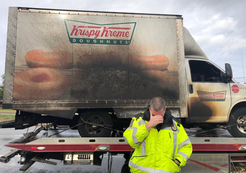 Officers 'mourn' Krispy Kreme doughnut truck after fire