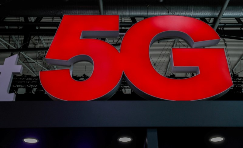 FILE PHOTO: A 5G sign is seen during the Mobile World Congress in Barcelona