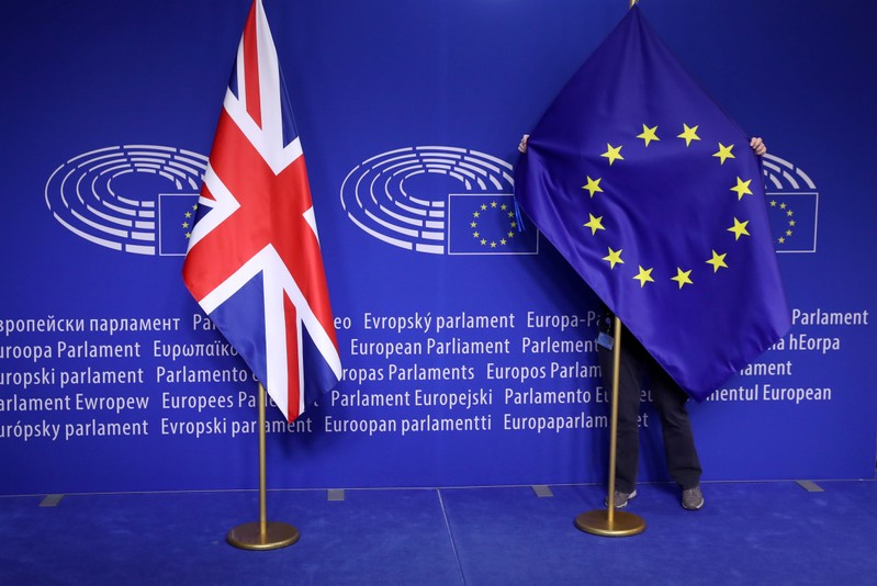 EU flag is adjusted EU Parliament in Brussels