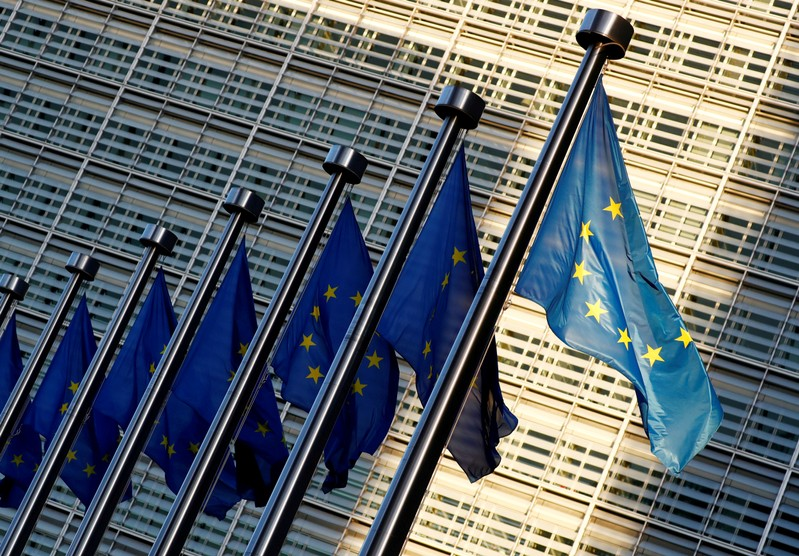 FILE PHOTO: EU flags outside the EU Commission headquarters in Brussels