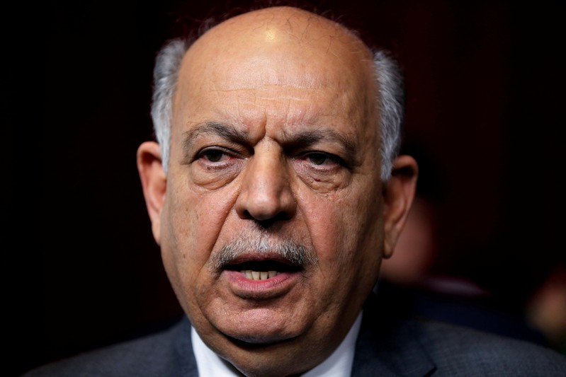 FILE PHOTO: Iraqi Oil Minister Thamer al-Ghadhban speaks to the media at the ministry's headquarters in Baghdad