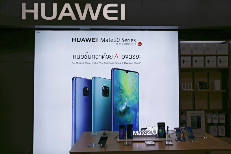 Huawei products are seen in a shop in Bangkok