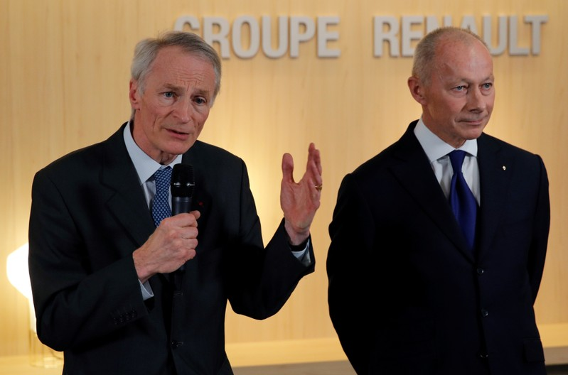 Jean-Dominique Senard, newly-appointed Chairman of Renault, and Thierry Bollore, newly-appointed CEO of Renault, talk to journalists after French carmaker Renault's board of directors meeting in Boulogne-Billancourt, near Paris