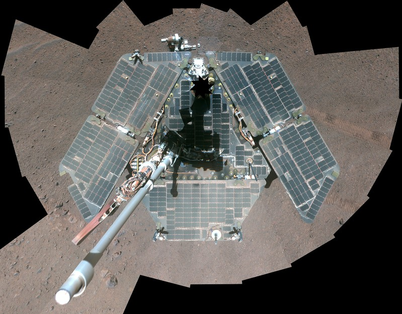 A self-portrait of NASA's Mars Exploration Rover Opportunity a combination of multiple frames taken by Opportunity's panoramic camera on planet Mars