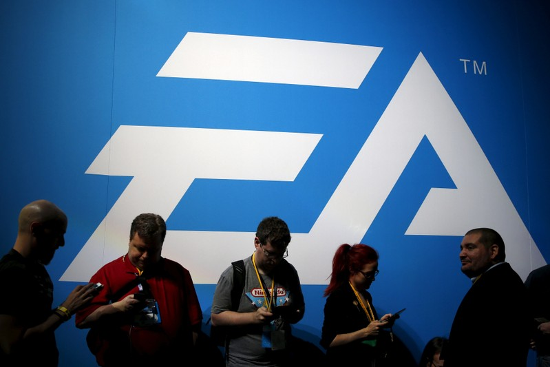 FILE PHOTO: An Electronic Arts (EA) video game logo is seen at the Electronic Entertainment Expo, or E3, in Los Angeles