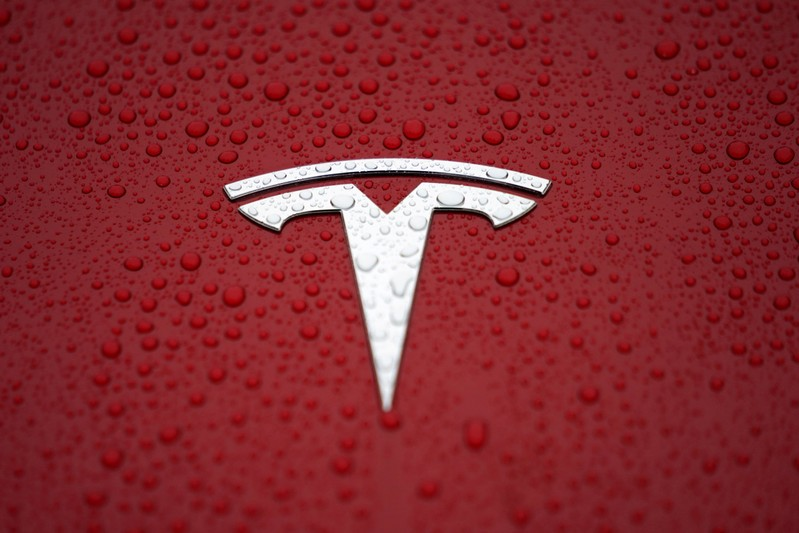 FILE PHOTO: A Tesla logo is seen at a groundbreaking ceremony of Tesla Shanghai Gigafactory in Shanghai