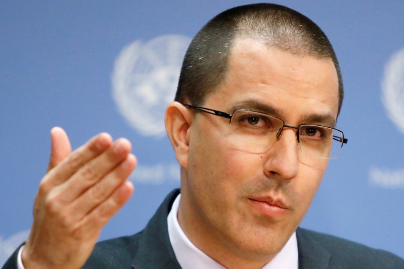 FILE PHOTO: Venezuela Minister of Foreign Affairs Jorge Arreaza responds to questions in the press briefing room at the United Nations Headquarters in New York