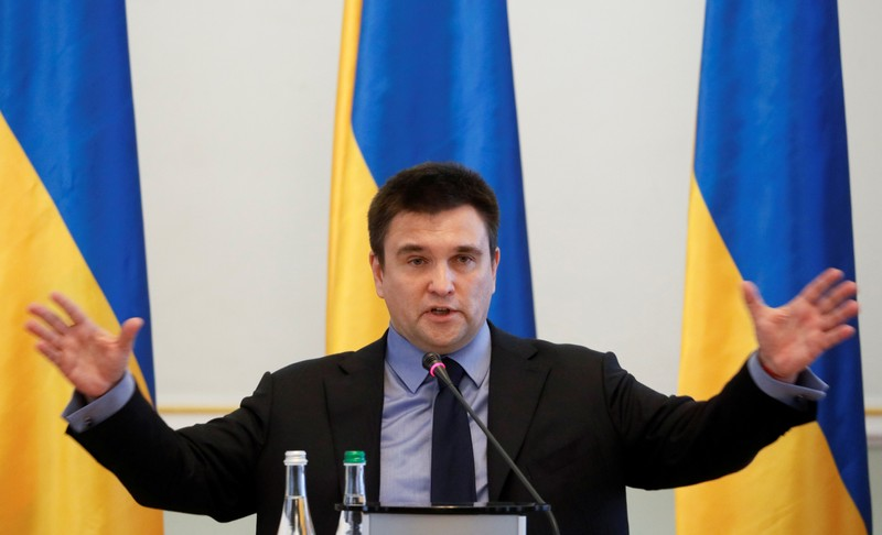 FILE PHOTO: Ukrainian Foreign Minister Klimkin holds an annual news conference in Kiev