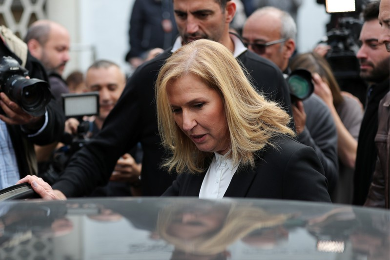 Tzipi Livni, former Israeli foreign minister enters a car after speaking at a news conference in Tel Aviv, Israel