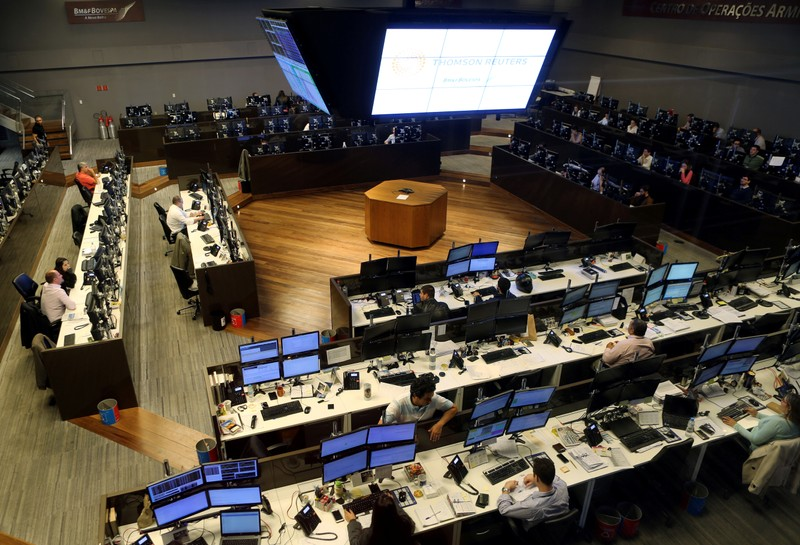 FILE PHOTO: Traders work at the floor of Brazil's BM&F Bovespa Stock Market in downtown Sao Paulo