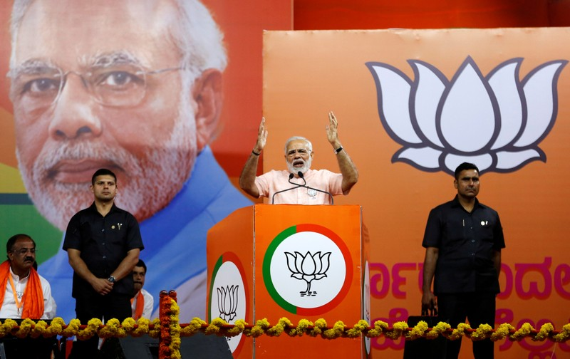 FILE PHOTO: India's Prime Minister Narendra Modi addresses an election campaign rally ahead of the Karnataka state assembly elections in Bengaluru