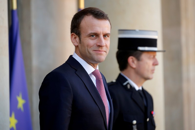 FILE PHOTO: French President Emmanuel Macron waits for the arrival of Tunisian Prime Minister Youssef Chahed at the Elysee Palace in Paris