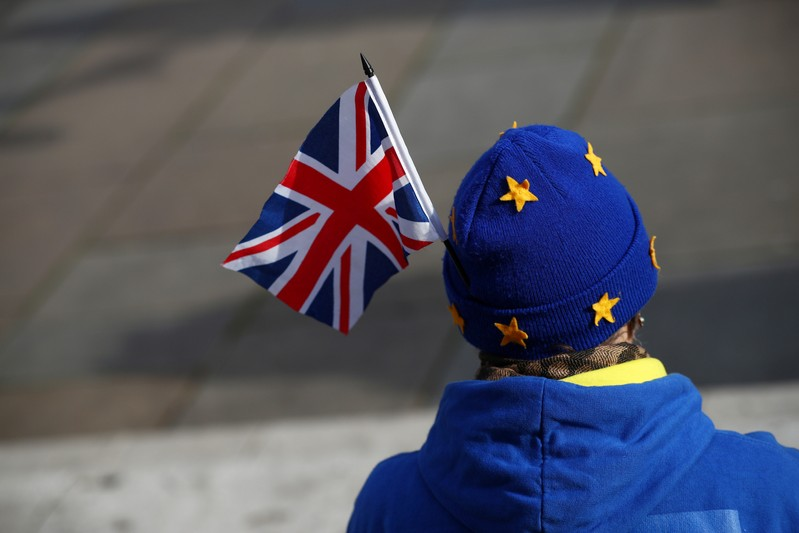 An anti-Brexit demonstrator protests outside the Houses of Parliament, in Westminster, London