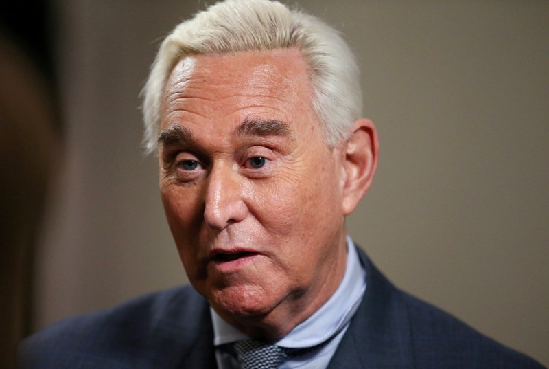 FILE PHOTO: Longtime Trump ally Roger Stone gives an interview to Reuters in Washington, U.S., January 31, 2019. REUTERS/Leah Millis