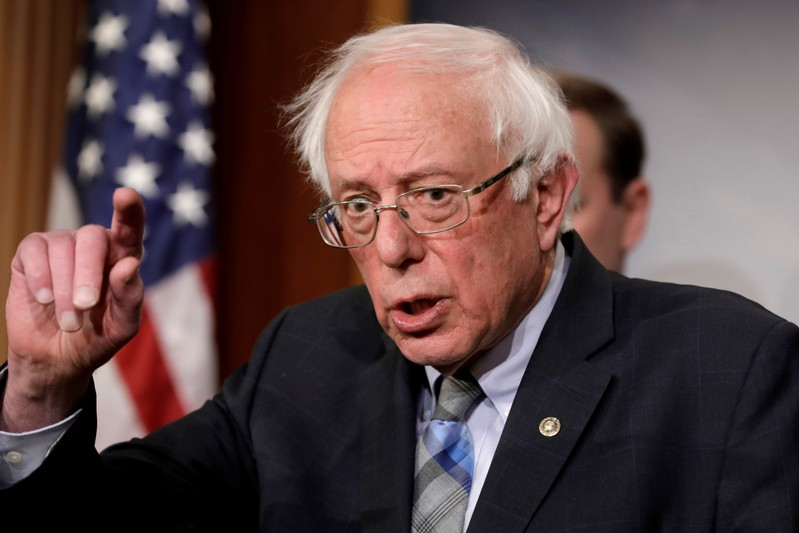 FILE PHOTO: Senator Bernie Sanders speaks during a news conference on Yemen resolution
